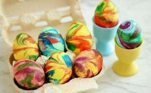 Писани яйца с пяна за бръснене