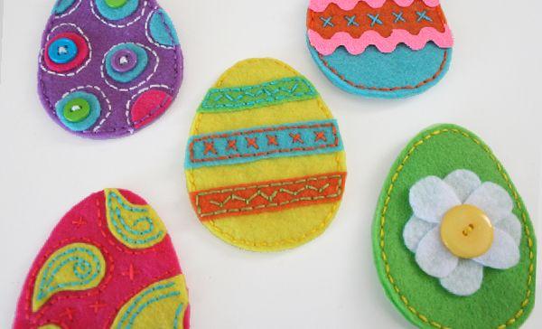 Лесна Великденска декорация с филц - Шарени яйца